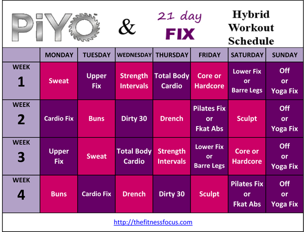 With the PiYo & 21 Day Fix hybrid schedule we keep the strength ...