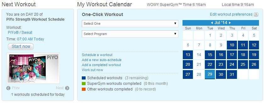 PiYo Workout Schedule in SuperGym