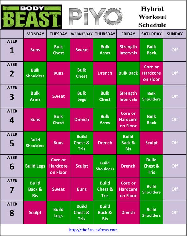 PiYo Hybrid Workout Schedules and Calendar Downloads
