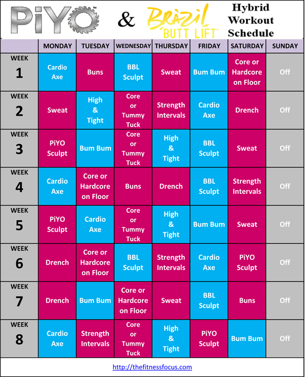 PiYo Hybrid Workout Schedules and Calendar Downloads