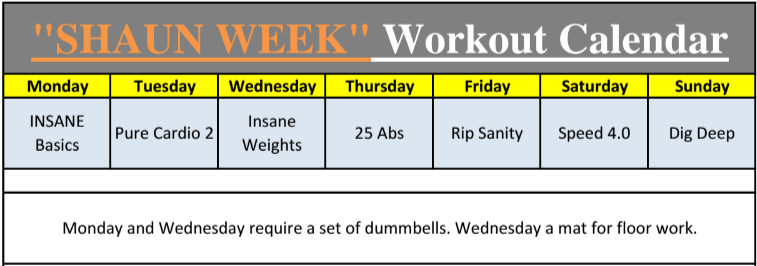 Calendario Insanity.Introducing Shaun Week Insane Focus A 7 Day Total Body Workout