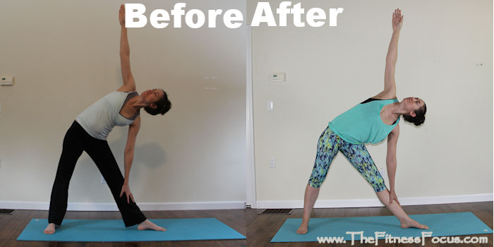 3 Week Yoga Retreat before and after photo of the triangle pose
